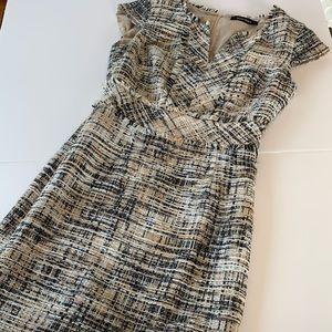 Ellen Tracy Dress in Plaid with Fringe Detail Sz 6